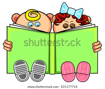 Little boy and girl sitting and reading big book