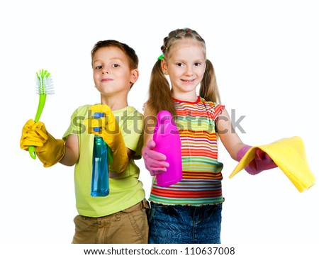 little boy and girl with a rag and can of detergent