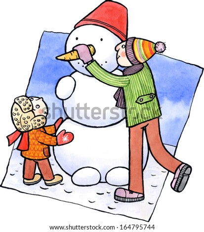 Little boy and his father building a snowman. Watercolor and ink illustration. - stock photo