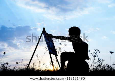 Little boy artist drawing and painting in nature - stock photo