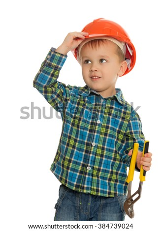 Little boy as a Builder , he wears a construction helmet and hand pliers - Isolated on white background - stock photo