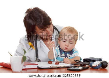 Little boy at the doctor's pediatrician. Isolated on white background