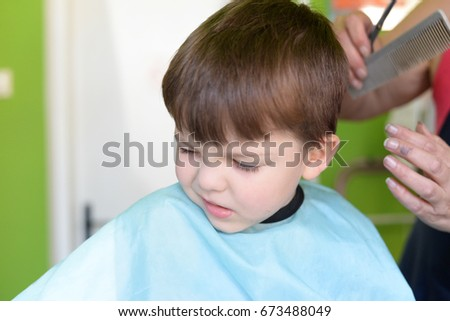 Little Boy Hairdresser Child Scared Haircuts Stock Photo Download