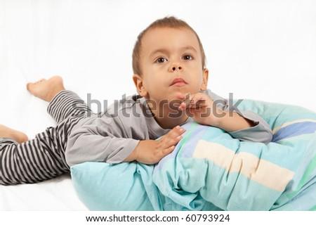 Little boy before sleep - stock photo