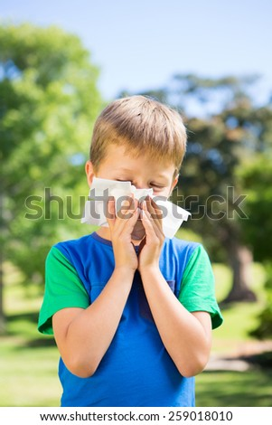 Little boy blowing his nose on a sunny day - stock photo