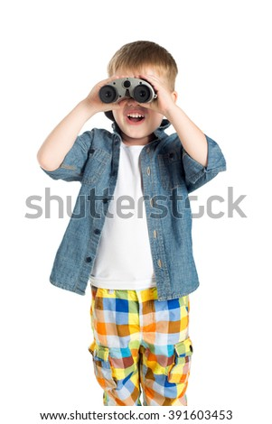 little boy child isolated studio white background with binoculars