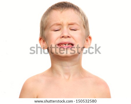 Little Boy Child making sore crying Face showing Calf's Teeth Decay Dental problems concept  isolated on white background - stock photo