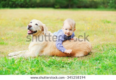 Little boy child playing with Golden Retriever dog on grass  - stock photo