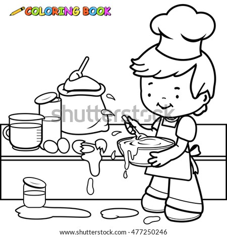 Little Boy Cooking Making Mess Coloring Stock Illustration 477250246 ...
