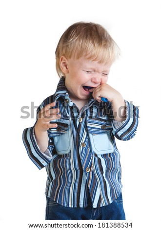 little boy crying isolated in white background - stock photo