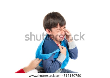 Little boy crying with tear