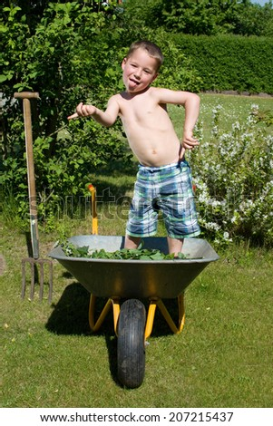 little boy dances in a wheelbarrow in the garden and making grimaces
