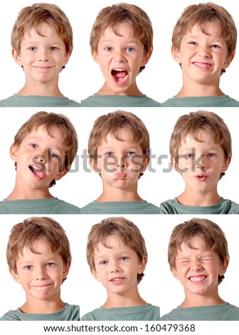 little boy doing facial expressions - stock photo