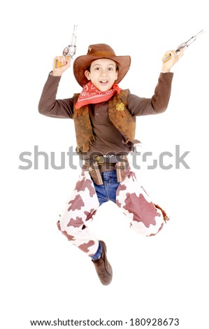little boy dressed as a cowboy isolated in white