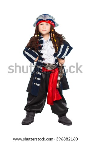 Little boy dressed as medieval pirate posing with a gun. Isolated on white - stock photo