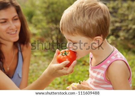 Little boy eat a tomato from his mother's hand. Summer, outdoor - stock photo