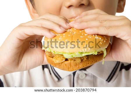 Little boy eating a hamburger. isolated on a white background with paths