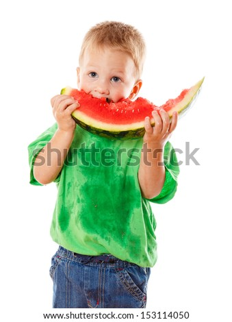 Little boy eating a watermelon, isolated on white - stock photo