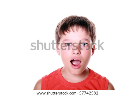 Little boy expressing shock isolated on white background