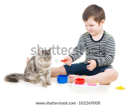 little boy feeding a cat with a toy spoon - stock photo