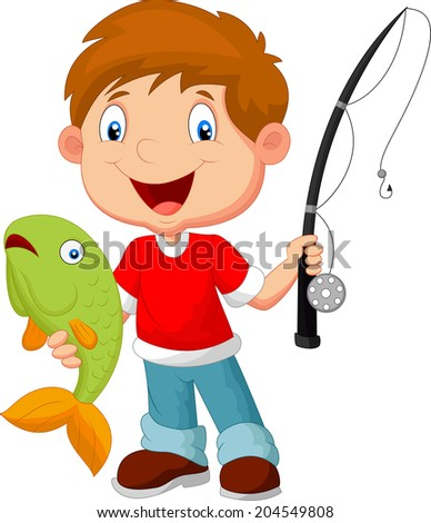 Little boy fishing - stock photo