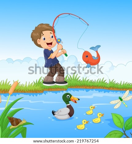 Stock images similar to id 76729498 cartoon of a boy for Little boy fishing