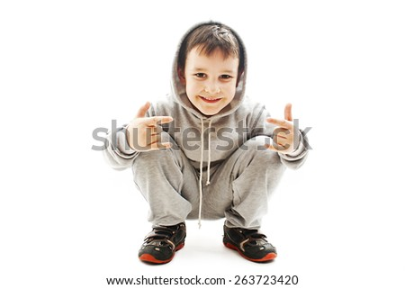 Little boy gesturing. Isolated on white background - stock photo