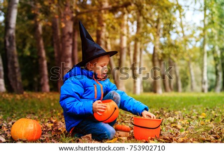 Delightful Little Boy Get Ready For Halloween Party In Autumn Nature