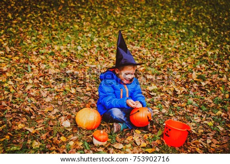 Awesome Little Boy Get Ready For Halloween Party In Autumn Nature