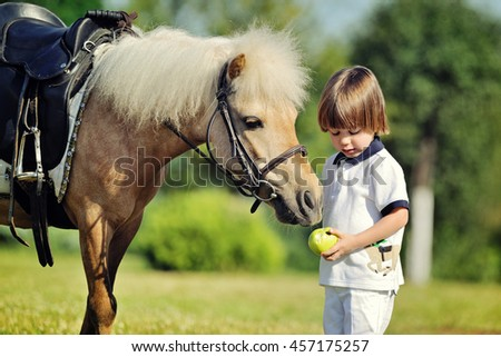 Little boy gives his pony an apple