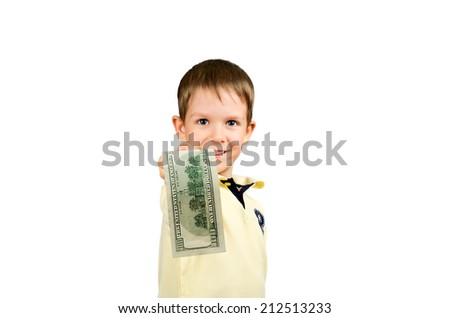 little boy giving money bill 100 us dollars. isolated on white background. Focus on the banknote. horizontal