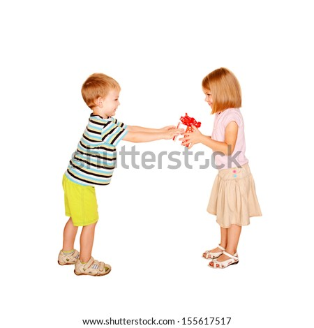 Little boy giving to little girl the gift. Present for birthday, valentine's day or other holiday. Ready for your text, logo or symbols. Kids love. Isolated on white background