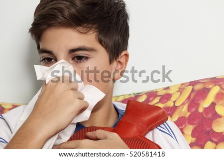 little boy has a cold