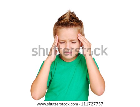 Little boy having a headache