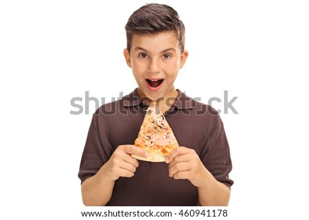 Little boy having a slice of pizza isolated on white background