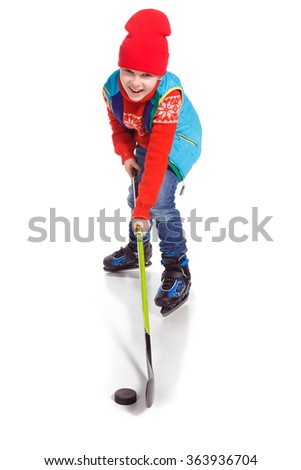 Little Boy Hockey Player, isolated on white - stock photo