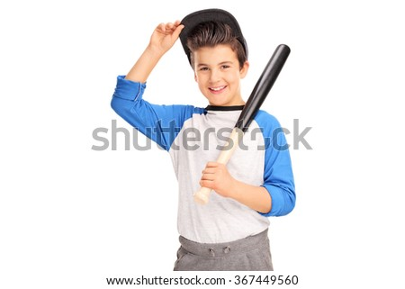 Little boy holding a baseball bat and looking at the camera isolated on white background - stock photo