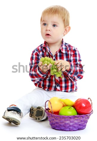 Little boy holding a bunch of green grapes.White background, isolated photo. - stock photo