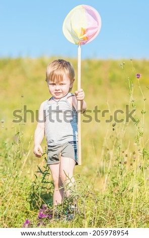 little boy holding a butterfly net for catching butterflies on a meadow - stock photo