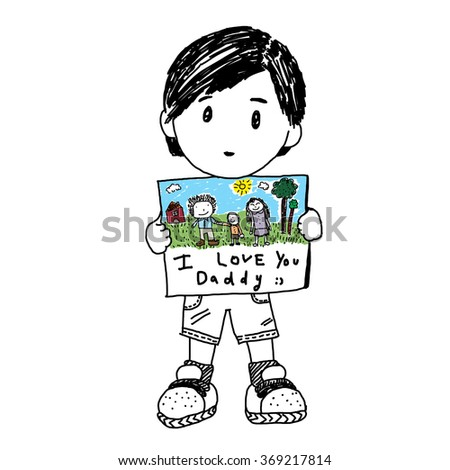 Little boy holding a note for Fatherâ??s day - stock photo