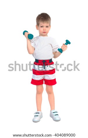 Little boy holding two blue dumbbells on a white background - stock photo