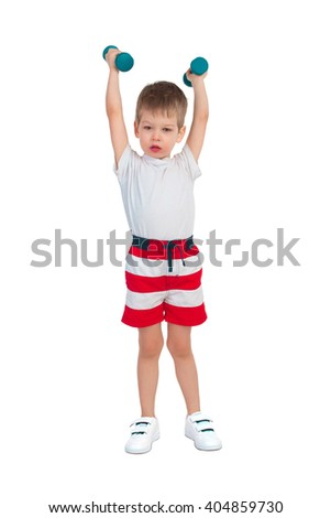 Little boy holding two blue dumbbells over head - stock photo