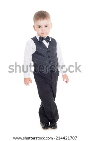 Little boy in a business suit Isolated on white.