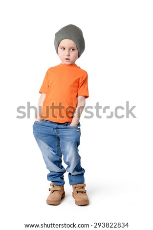 Little boy in a cap on white background - stock photo