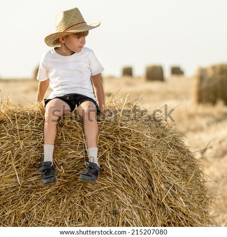 Little boy in a cowboy hat sitting on hay roll looking to the side. soft daylight - stock photo