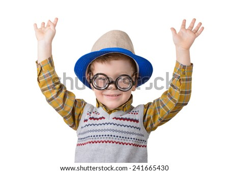 little boy in a hat and glasses nerd on a white background - stock photo