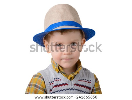 little boy in a hat on a white background sad closeup - stock photo