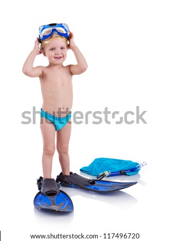 Little boy in a mask and flippers for diving (isolated over white) - stock photo