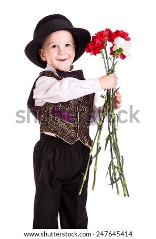 Little boy in black hat with bouquet of carnations, isolated on white - stock photo