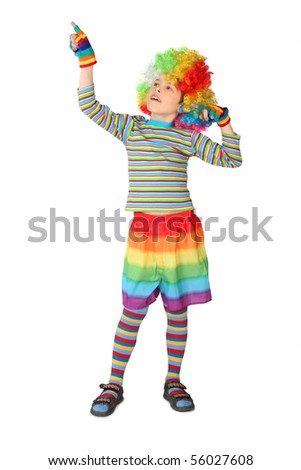 little boy in clown dress pointing at side isolated on white background - stock photo